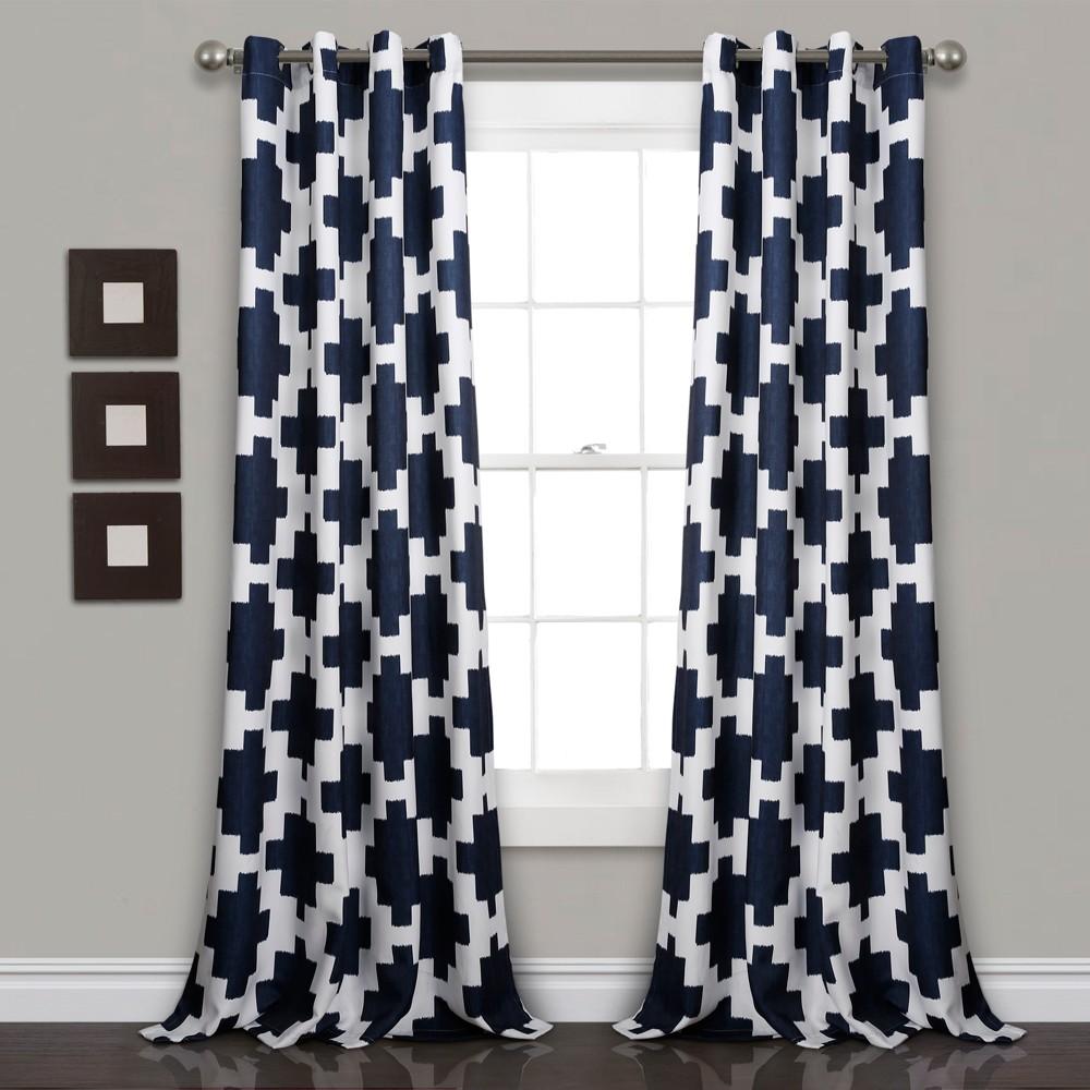 "84""x52"" Wellow Ikat Room Darkening Window Curtain Panels Navy - Lush Décor"