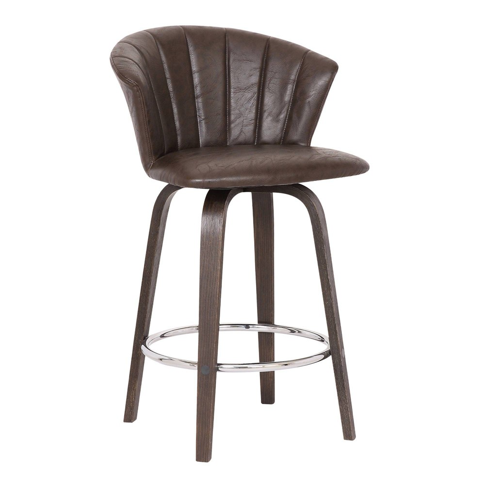 "Image of ""30"""" Connie Modern Faux Leather Bar Stool Brown - Armen Living"""