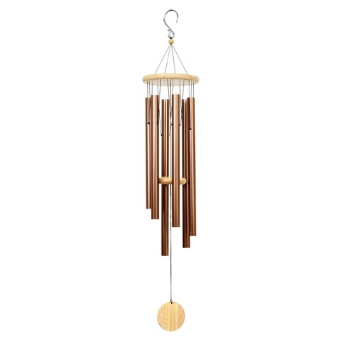 Large Metal and Wood Wind Chime Bronze - Exhart - image 1 of 4