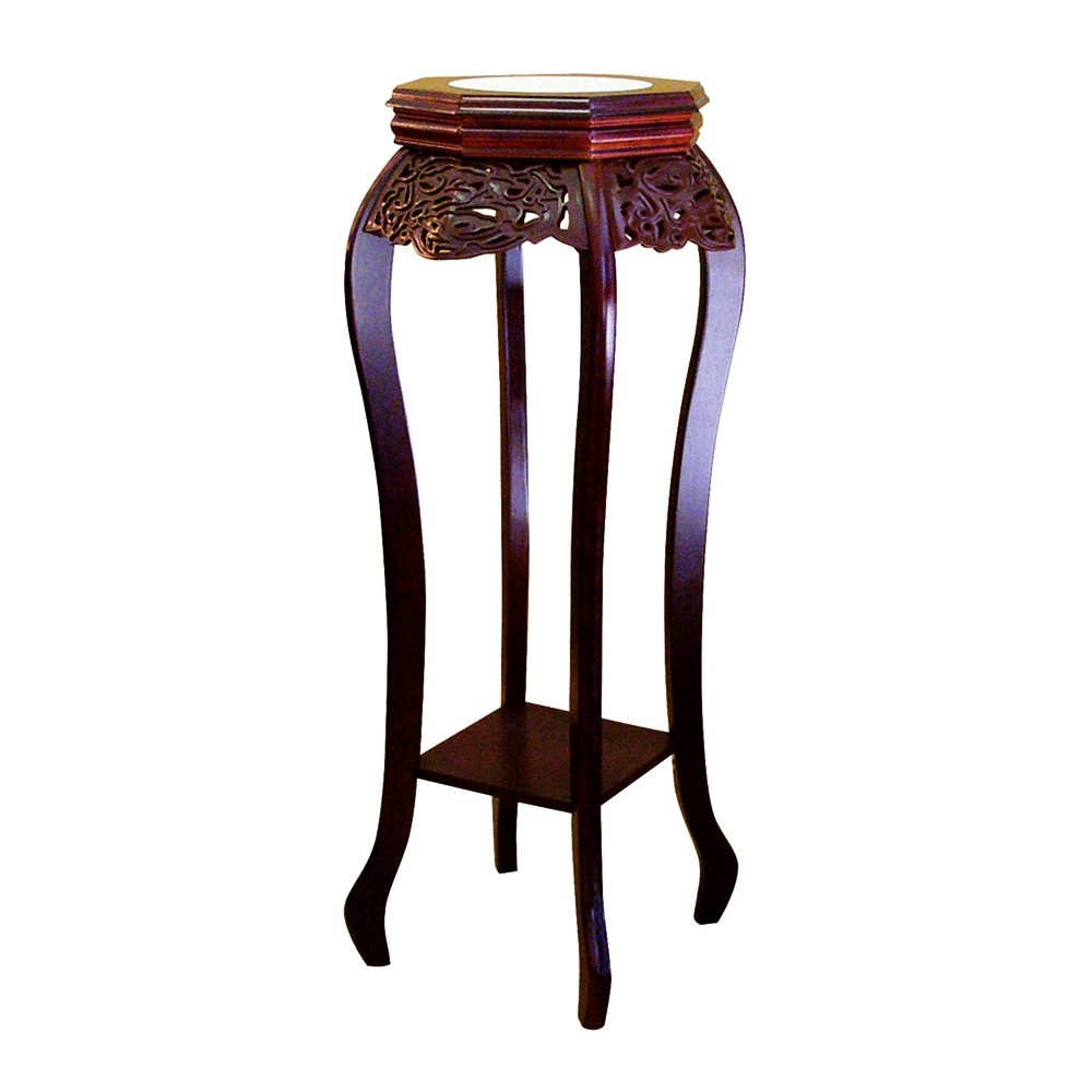 Flower Stand with Ceramic Top Brown - Ore International