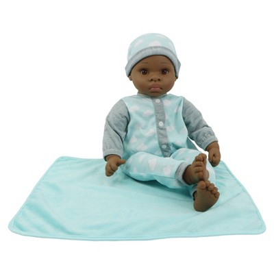 """18"""" Sweet and Happy Baby with Blanket - Blue Cloud Pajamas"""