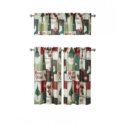 Kate Aurora Holiday Living Merry Christmas Kitchen Curtain Tier And Valance Set - 56 in. W x 36 in. L