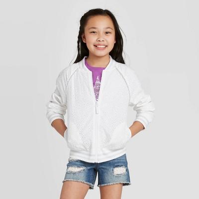 Girls' Eyelet Bomber Jacket - Cat & Jack™ White XL