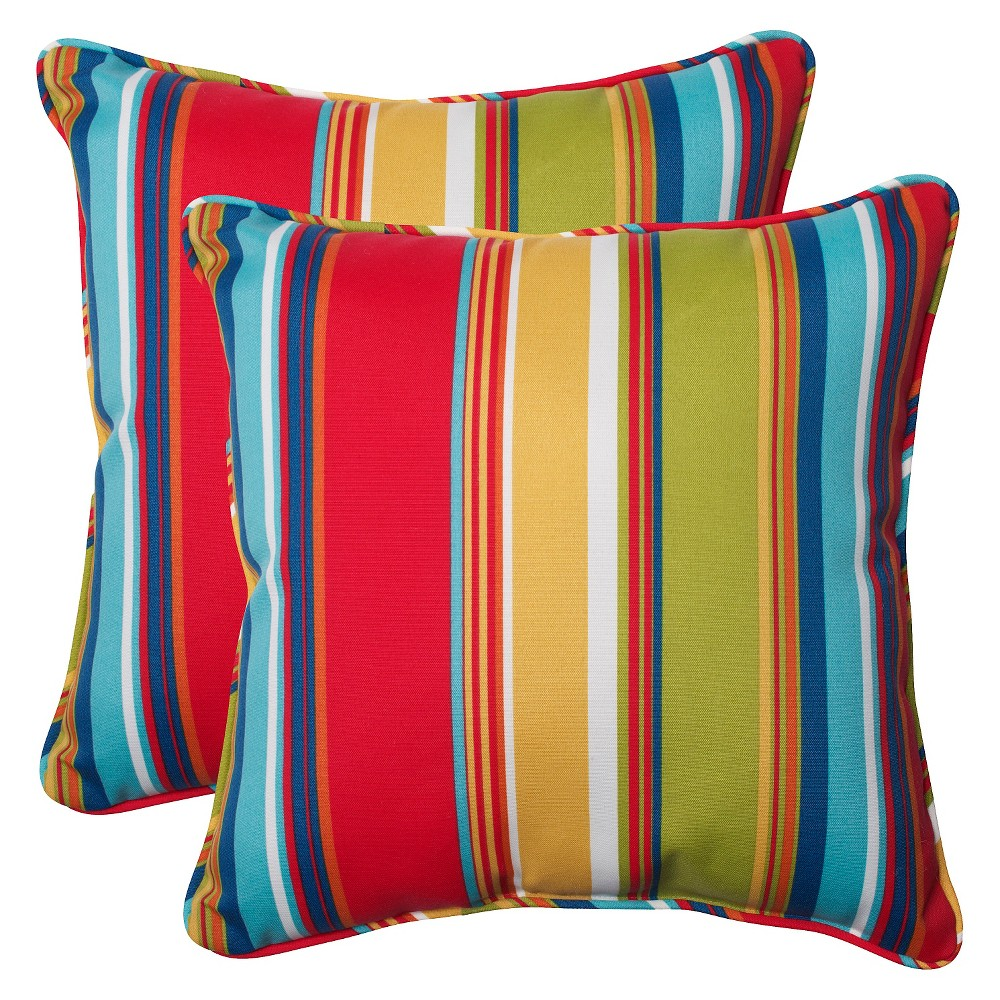 Pillow Perfect Westport Outdoor 2-Piece Square Throw Pillow Set - Multicolored