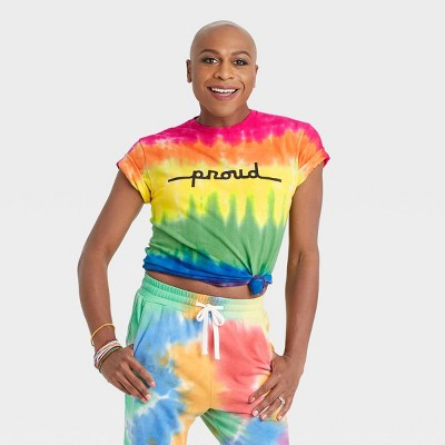 Pride Gender Inclusive Adult 'Proud' Tie-Dye Short Sleeve Graphic T-Shirt - PH by The Phluid Project