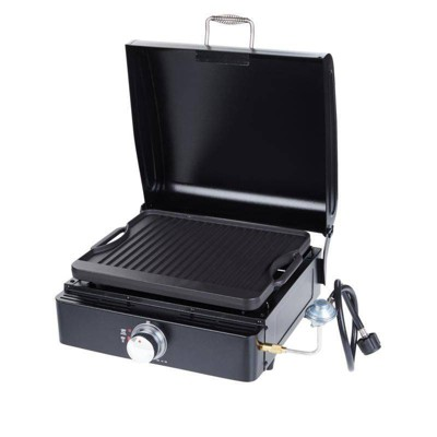 """Lifesmart SG270LB-H 17"""" Reversible Cast Iron Griddle/Grill with Lid, Carry Bag, and Adapter Hose"""
