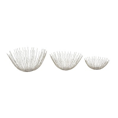Set of 3 Contemporary Stainless Steel Stick Bowls Silver - Olivia & May
