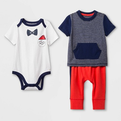 Baby Boys' T-Shirt, Bodysuit and Bottom Set - Cat & Jack™ White/Red/Blue 6-9M