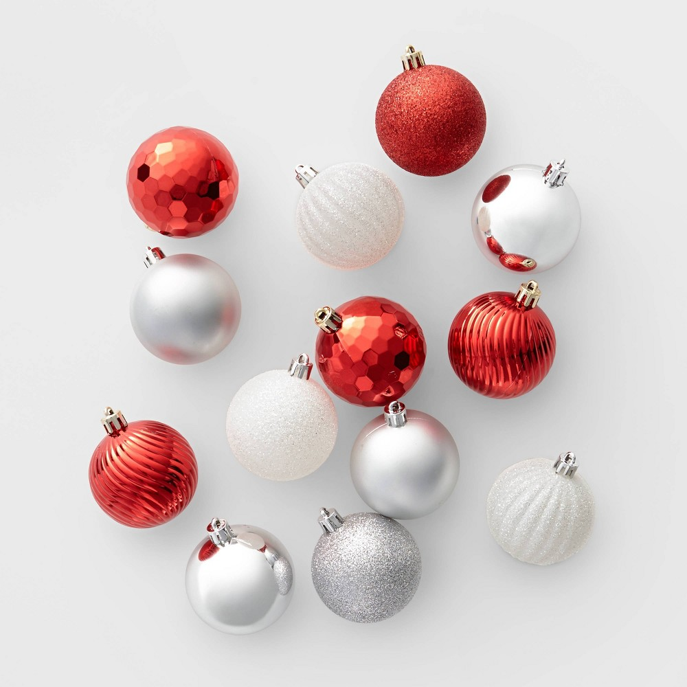 Image of 100ct Christmas Ornament Set Red White and Silver - Wondershop , Pink Red Gold