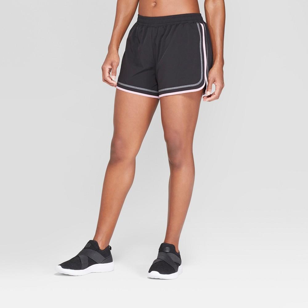 Women's Running Mid-Rise Shorts - C9 Champion Black/Mauve (Black/Pink) S