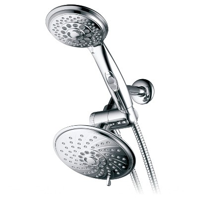 Dual Shower Head Ultra - Luxury Rainfall Combo Shower System Chrome - Hotelspa