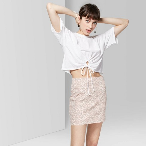 Women's Animal Print Seamed Mini Skirt - Wild Fable™ Natural - image 1 of 10