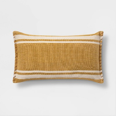 Wool/Cotton Woven Stripe Oversize Lumbar with Whipstitch Trim Gold - Threshold™