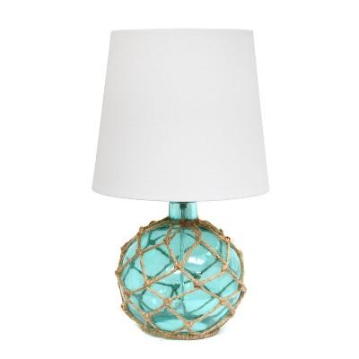 Buoy Rope Nautical Netted Coastal Sea Glass Table Lamp Aqua - Elegant Designs