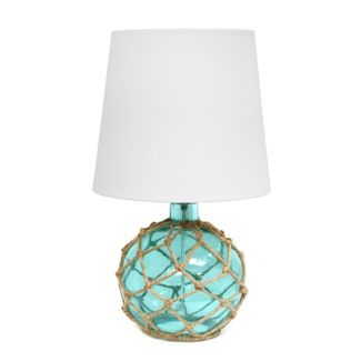 Buoy Rope Nautical Netted Coastal Sea Glass Table Lamp Aqua - Elegant Designs