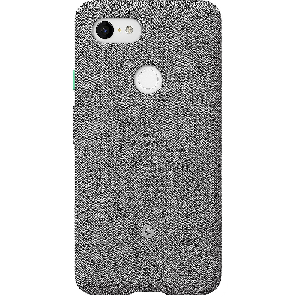 Google Pixel 3 XL Case - Fog Looks good on you. Designed for Pixel 3, these fabric cases are compatible with Qi wireless charging and come in colors to match your lifestyle. Active Edge lets you access the Google Assistant with just a squeeze. Length: 6.4 in (162.86mm) Width: 3.2 in (81.55mm) Height: 0.43 in (10.99mm) Weight: 1.65oz (47g) Materials: PC and Tpe Finish: Matte Color: Fog. Pattern: Solid.