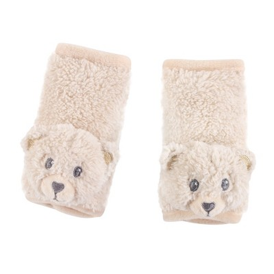 Hudson Baby Infant Unisex Cushioned Strap Covers, Tan Bear, One Size