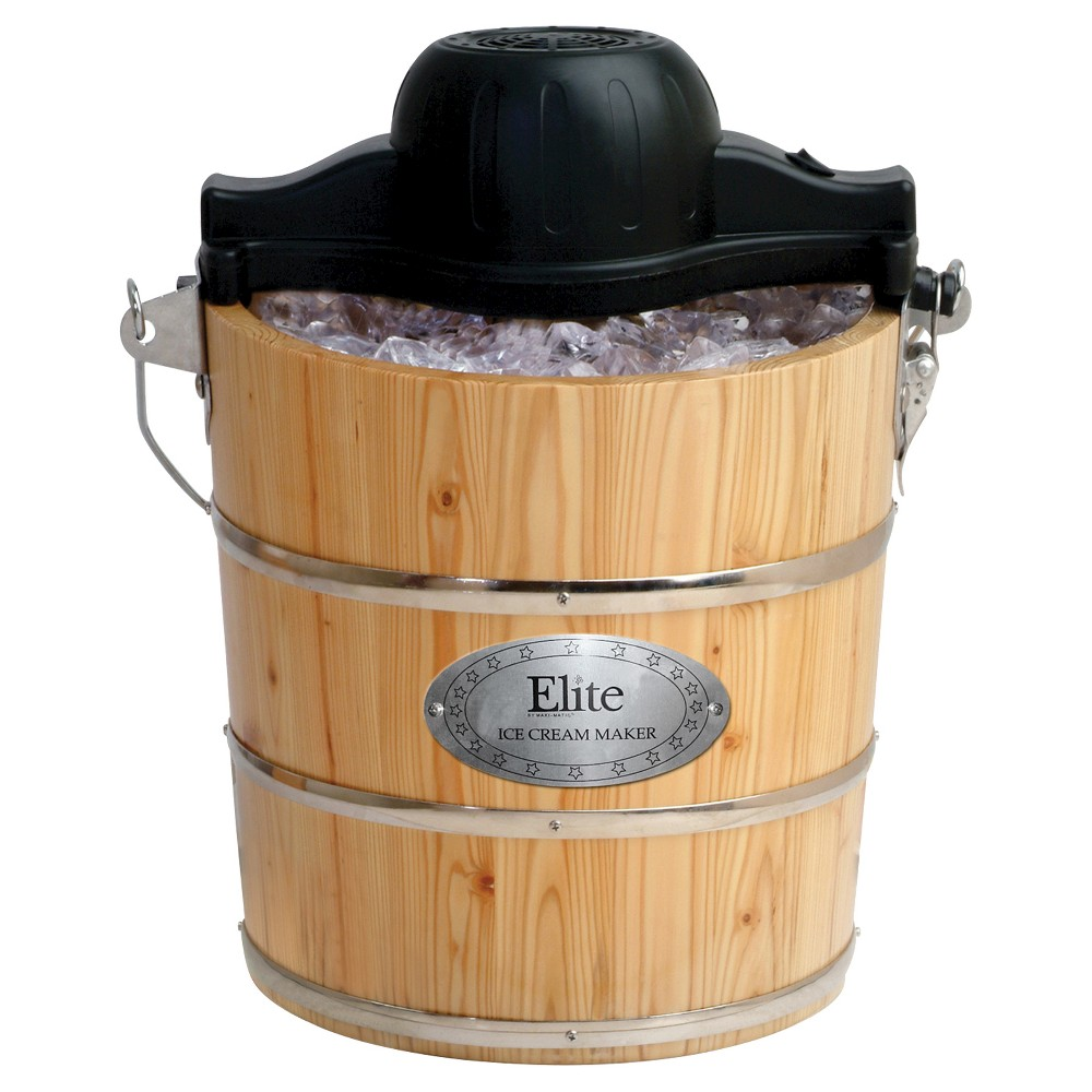 Image of Elite Gourmet 4-Quart Old Fashioned Pine Bucket Electric/Manual Ice Cream Maker