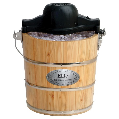 Elite Gourmet 4-Quart Old Fashioned Pine Bucket Electric/Manual Ice Cream Maker - image 1 of 4