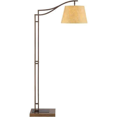 Franklin Iron Works Rustic Industrial Downbridge Floor Lamp Bronze Faux Leather Empire Shade Living Room Reading Bedroom Office