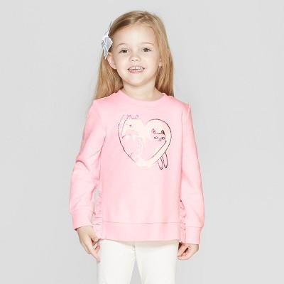 Toddler Girls' Long Sleeve 'Cat' Pullover Sweatshirt - Cat & Jack™ Pink 12M