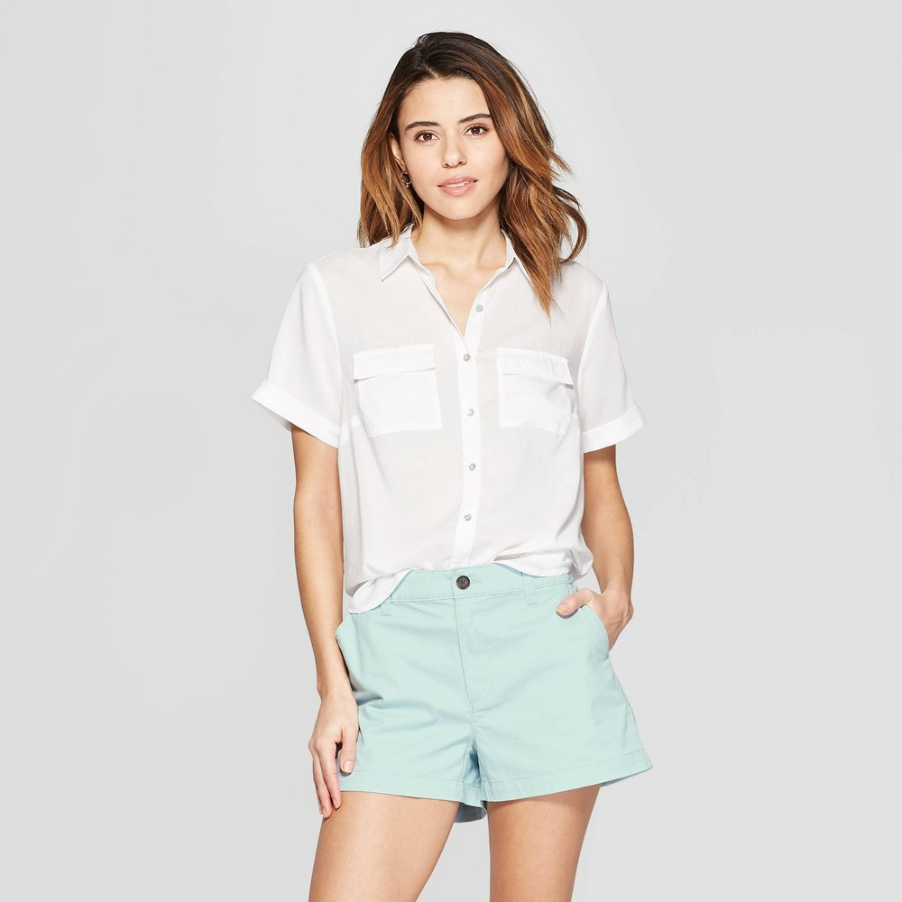 Women's Short Sleeve Button-Down Shirt - A New Day White XL