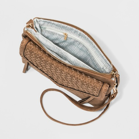 VR NYC Woven Flap Leanna Triple Crossbody Bag - Cognac   Target 41f395a621c11
