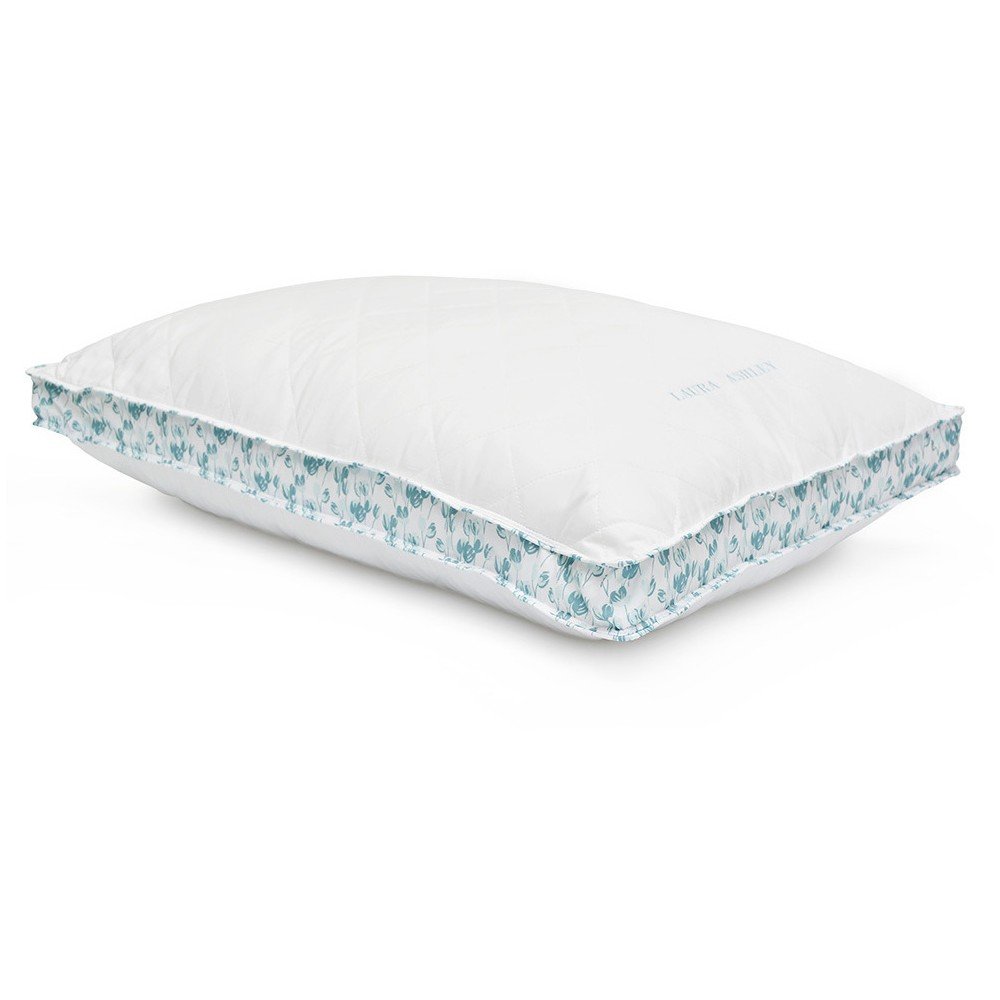Image of Ava Down Alternative Bed Pillow (King) White & Blue - Laura Ashley
