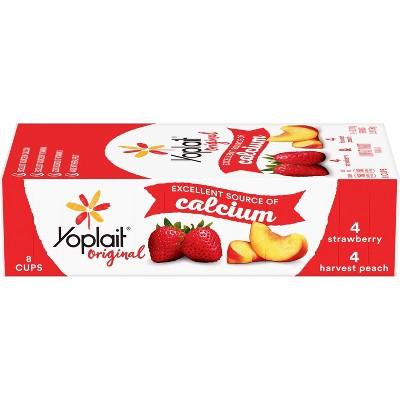Yoplait Original Strawberry and Harvest Peach Yogurt - 8pk/6oz Cups