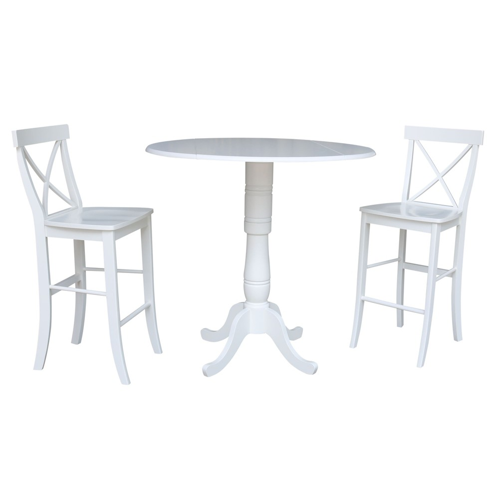 42 Round Top Pedestal Bar Height Drop Leaf Table with 2 Bar Height Stools White - International Concepts