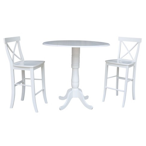 "42"" Round Top Pedestal Bar Height Drop Leaf Table with 2 Bar Height Stools White - International Concepts - image 1 of 3"