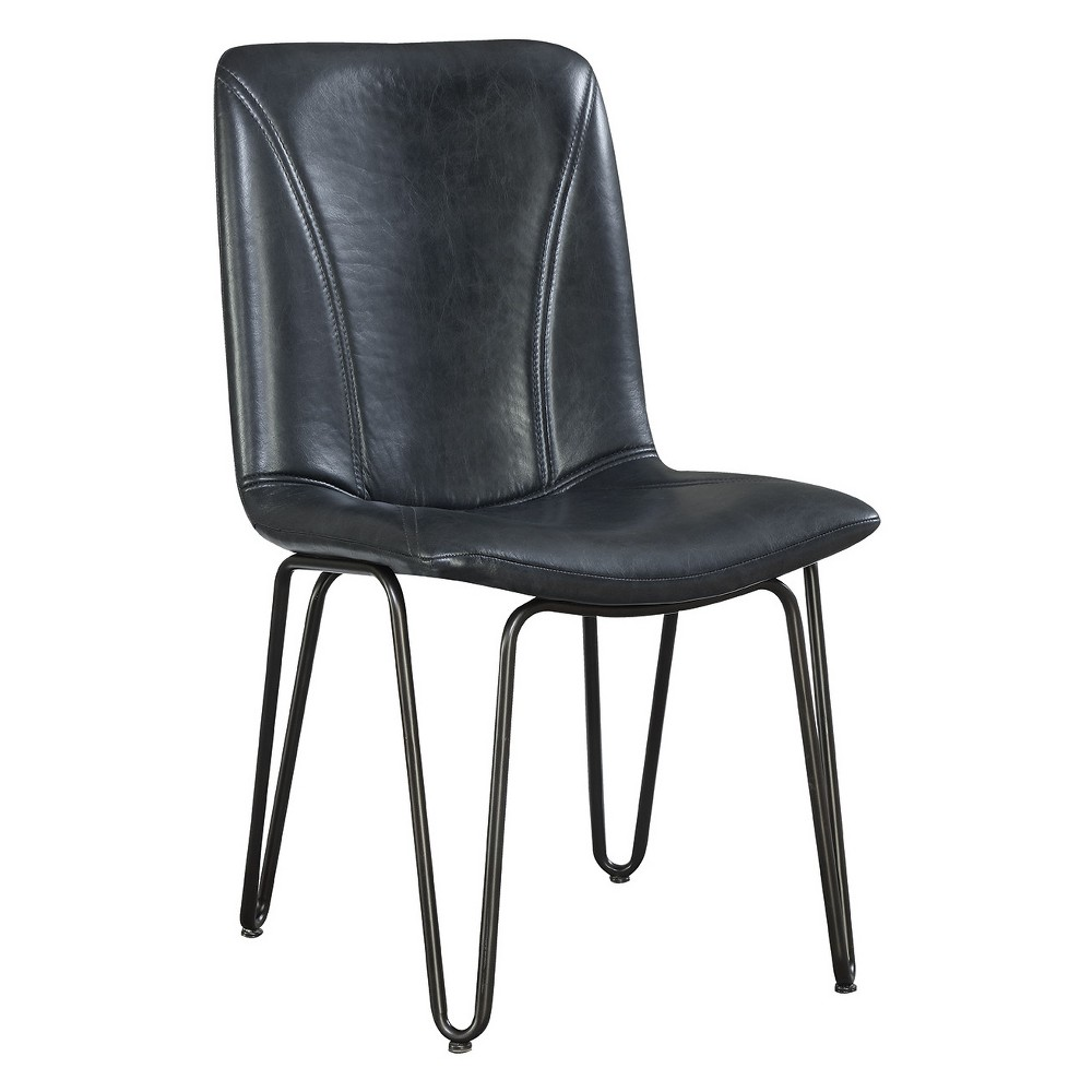 Private Reserves Set of 4 Dining Side Chair Charcoal (Grey) Leatherette with Gunmetal Leg Finish