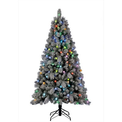 Home Heritage Cascade 7 Foot Flocked Prelit Artificial Christmas Tree w/ Stand