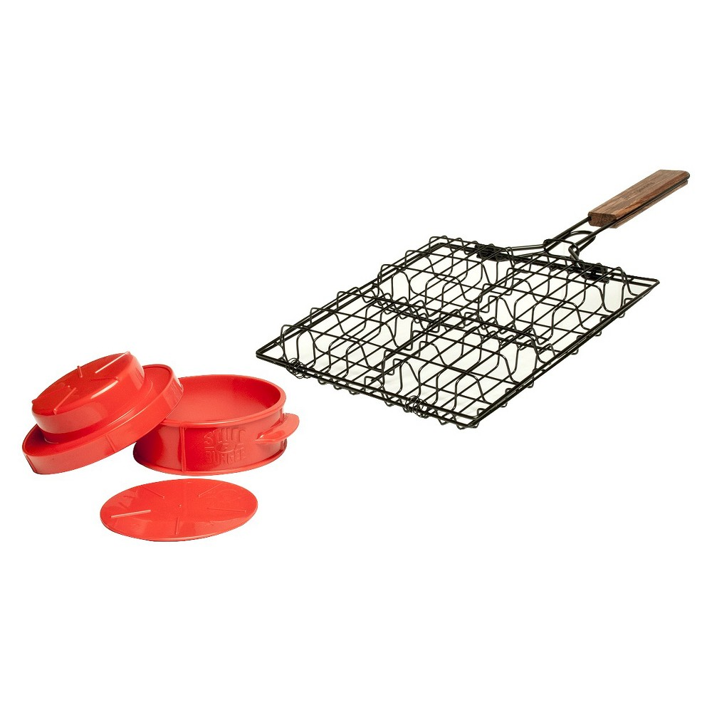 Charcoal Companion Stuff-A-Burger Grilling Basket and Burger Press Set