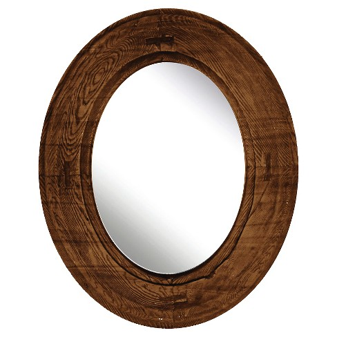 Oval Decorative Wall Mirror Rustic Wood Finish Ptm Images