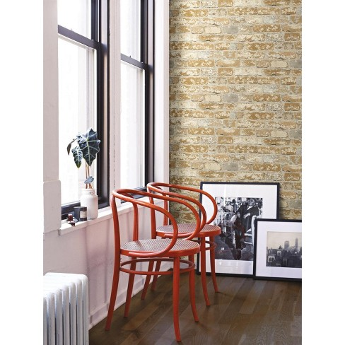 Stuccoed Brick Peel And Stick Wallpaper Brown Roommates Target