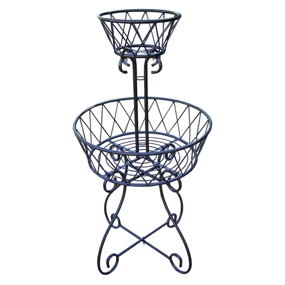 Image of Two Tier Basket Planter - Black