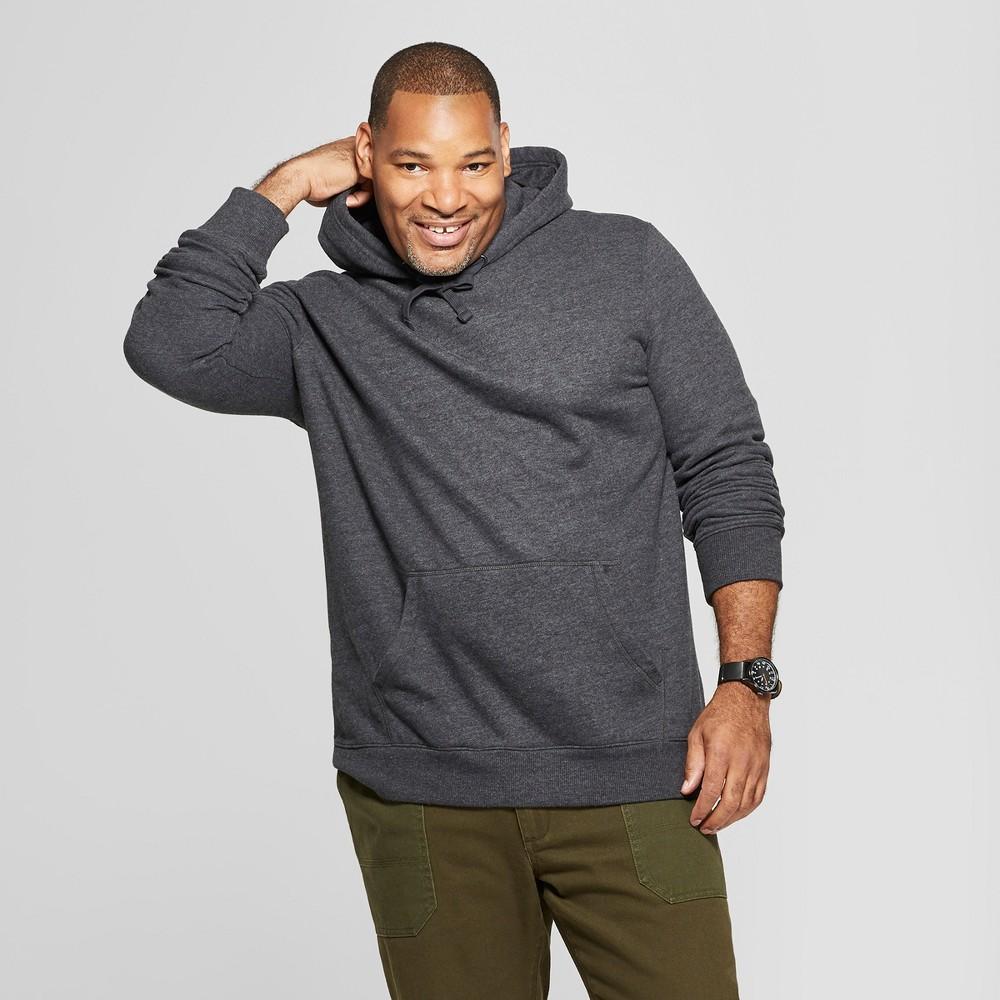 Men's Tall Regular Fit Fleece Hooded Sweatshirt - Goodfellow & Co Charcoal (Grey) LT