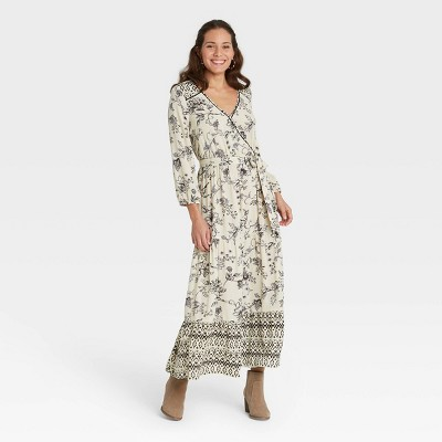 Women's Floral Print Long Sleeve Wrap Dress - Knox Rose™