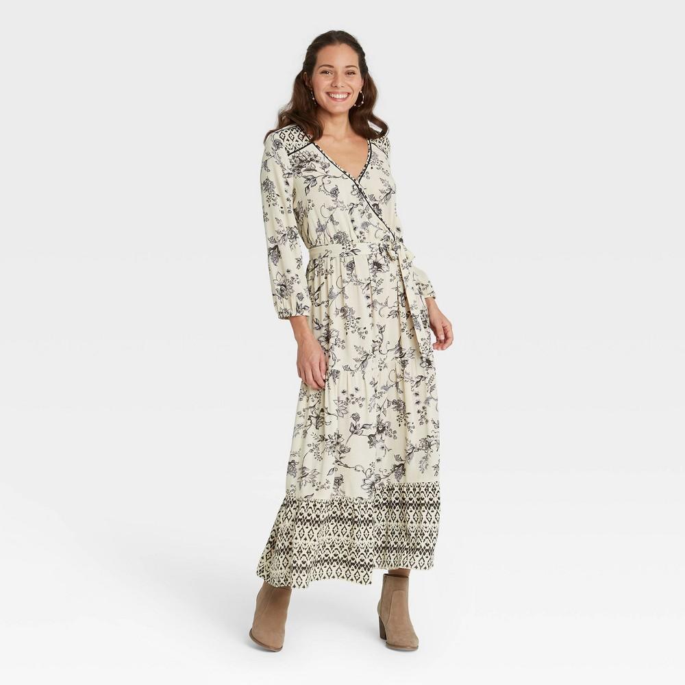 Women 39 S Floral Print Long Sleeve Wrap Dress Knox Rose 8482 Black White Xs