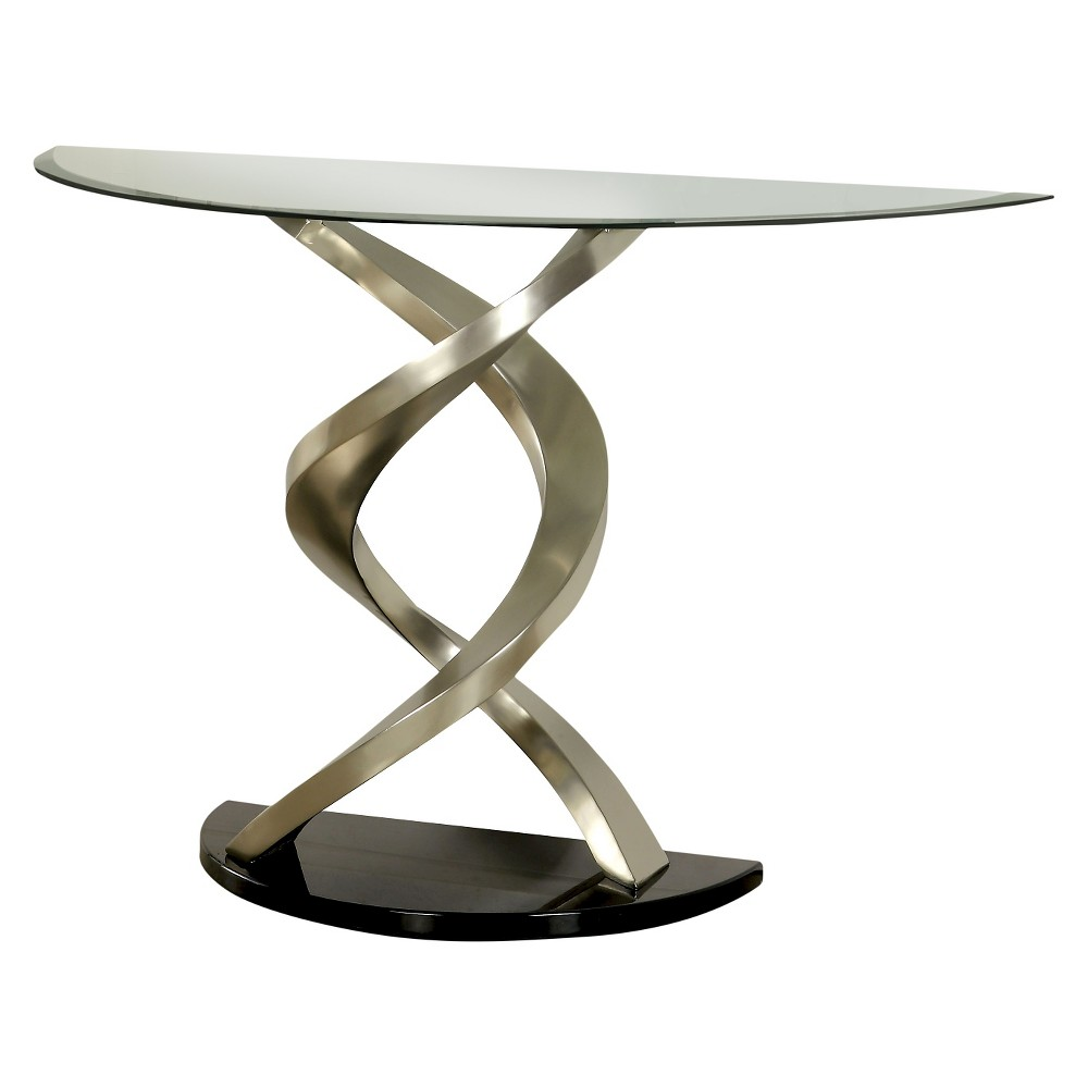 ioHomes Kelsi Modern Twisting Glass Top Sofa Table Satin Plated, Shiny Silver
