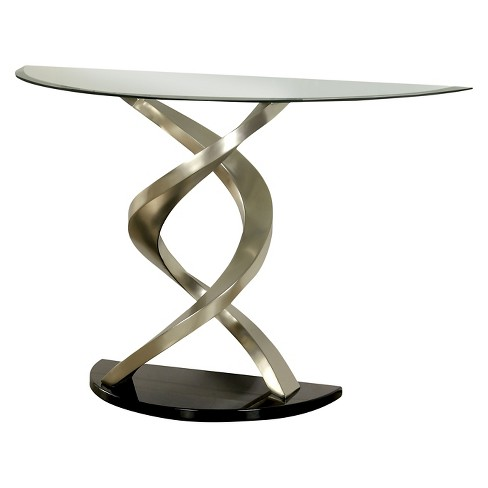 Iohomes Kelsi Modern Twisting Glass Top Sofa Table Satin Plated Target