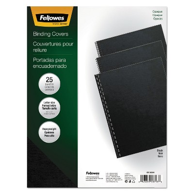 Fellowes Futura Binding System Covers Square Corners 11 x 8 1/2 Black 25/Pack 5224901