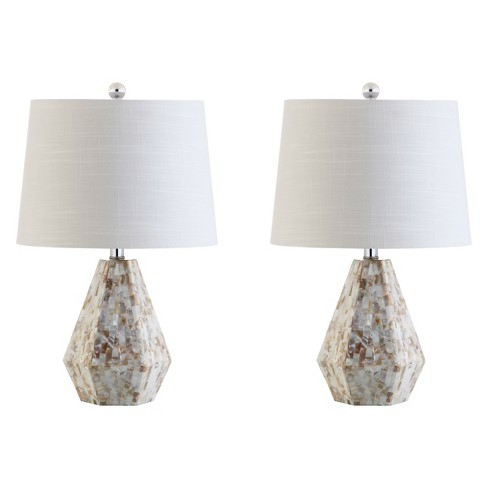 """21"""" Isabella Seashell LED Table Lamp Set Of 2 Natural (Includes Energy Efficient Light Bulb) - JONATHAN Y - image 1 of 4"""