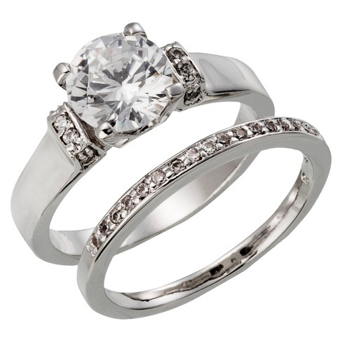 Silver Plated Round Cut Cubic Zirconia Wedding Ring Set - Size 7 - image 1 of 1