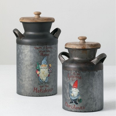 "Sullivans Set of 2 Decorative Cream Can Bowl 13""H & 10""H Gray"
