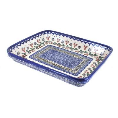 Blue Rose Polish Pottery Strawberry Garden Large Rectangular Baker