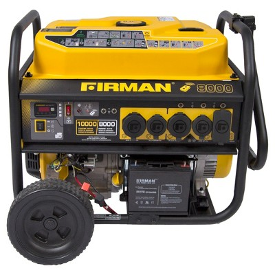 8000/10000W Gas Powered Portable Remote Starter Generator With Wheel Kit-CARB Compliant - Yellow - Firman Power