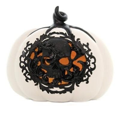 "Halloween 7.5"" White/Black Pumpkin Led Lighted Skull  -  Decorative Figurines"