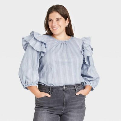 Women's Plus Size Double Ruffle 3/4 Sleeve Blouse - Universal Thread™